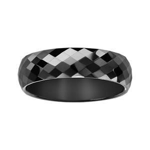 Alliance demi-jonc en céramique noire 6mm avec facettes - Vue 2