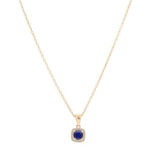 Collier en vermeil chaîne avec pendentif carré cerclé de Topazes blanches serties et Saphir véritable 42+3cm - Vue 2