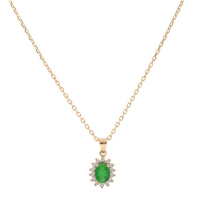 Collier en vermeil chaîne avec pendentif fleur d\'Emeraude véritable et contour de Topazes blanches serties 42+3cm - Vue 2