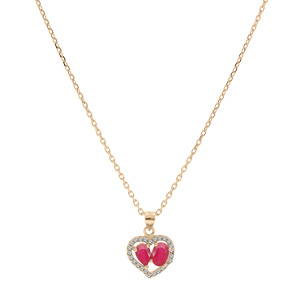 Collier en vermeil chaîne avec pendentif coeur de Rubis véritables et contour de Topazes blanches serties 42+3cm - Vue 2