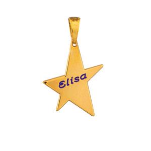Pendentif en vermeil étoile à graver petit modèle - plaque prestige - Vue 2