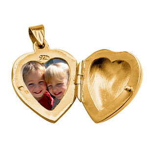 Pendentif en vermeil cassolette coeur ouvragé - possibilité d\'insérer 1 ou 2 photos droite et gauche - Vue 2
