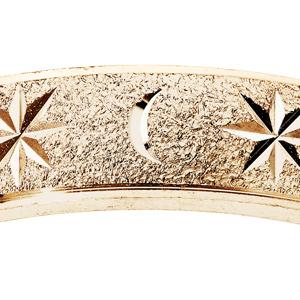 Alliance en vermeil granitée diamantée étoile largeur 4mm - Vue 2