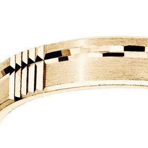 Alliance en vermeil diamantée brossé largeur 4mm - Vue 2
