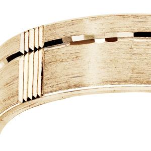 Alliance en vermeil diamantée brossé largeur 6mm - Vue 2