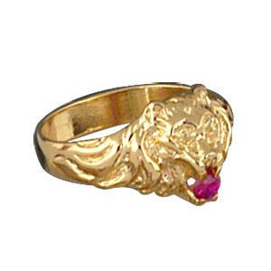 Chevalière lion en vermeil petit modèle avec oxyde rouge entre les dents - Vue 2