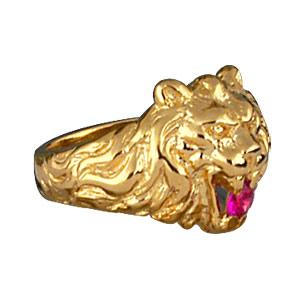 Chevalière lion en vermeil gros modèle avec oxyde rouge entre les dents - Vue 2