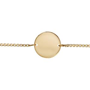 Bracelet en plaqué or chaîne maille vénitienne avec plaque ronde à graver au milieu - longueur 18cm réglable - Vue 2