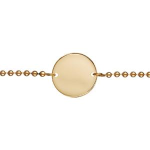 Bracelet en plaqué or chaîne maille boules avec plaque ronde à graver au milieu - longueur 18cm réglable - Vue 2