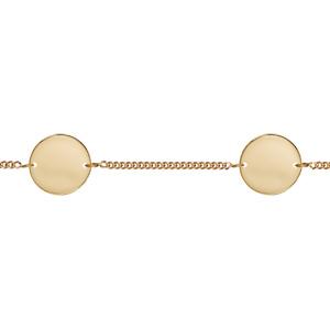 Bracelet en plaqué or chaîne maille serrée avec 2 plaques rondes à graver - longueur 17,5cm + 2,5cm - Vue 2