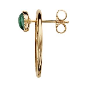 Boucles d\'oreille en plaqué or et pierre malachite véritable ronde et fermoir poussette - Vue 2