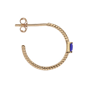 Boucles d\'oreilles en plaqué or demi-créoles diamanté avec pierre carree bleu nuit et fermoir poussette - Vue 2