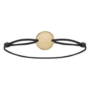 Bracelet en plaqué or cordon coulissant noir avec plaque ronde à graver - Vue 2