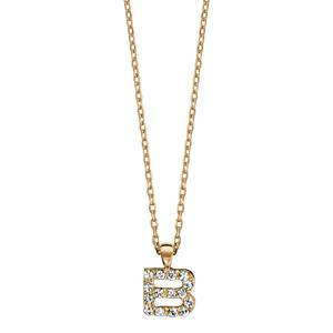 Collier en plaqué or chaîne avec pendentif initiale B ornée d\'oxydes blancs - longueur 45cm - Vue 2