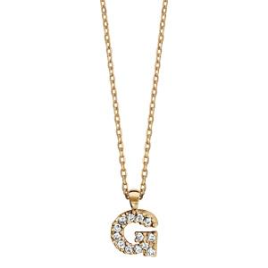 Collier en plaqué or chaîne avec pendentif initiale G ornée d\'oxydes blancs - longueur 45cm - Vue 2