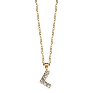 Collier en plaqué or chaîne avec pendentif initiale L ornée d\'oxydes blancs - longueur 45cm - Vue 2
