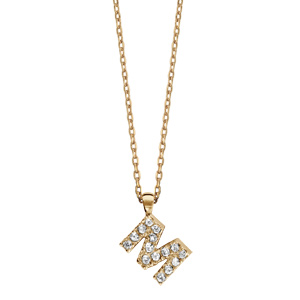Collier en plaqué or chaîne avec pendentif initiale M ornée d\'oxydes blancs - longueur 45cm - Vue 2