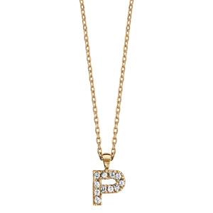Collier en plaqué or chaîne avec pendentif initiale P ornée d\'oxydes blancs - longueur 45cm - Vue 2