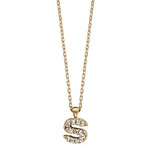Collier en plaqué or chaîne avec pendentif initiale S ornée d\'oxydes blancs - longueur 45cm - Vue 2