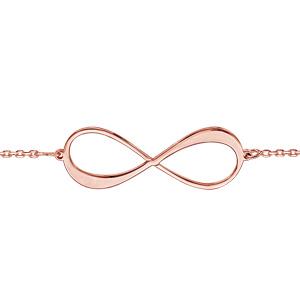 Bracelet en plaqué or rose chaîne avec infini à graver 1 ou 2 prénoms - longueur 16cm + 3cm de rallonge - Vue 2