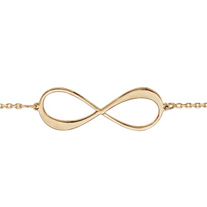 Bracelet en plaqué or chaîne symbole infini à graver 1 ou 2 prénoms - longueur 16cm + 3cm de rallonge - Vue 2