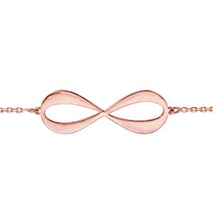 Bracelet en plaqué or rose chaîne avec infini à graver 3 ou 4 prénoms - longueur 16cm + 3cm de rallonge - Vue 2