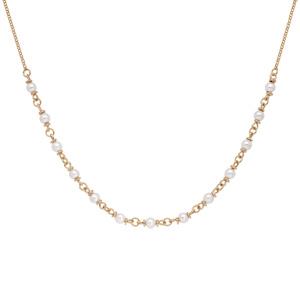 Collier en plaqué or avec perles blanches de synthése 40+5cm - Vue 2