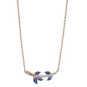 Collier en plaqué or avec pendentif feuillage bleu nuit et oxydes blancs sertis 42+3cm - Vue 2