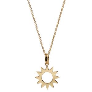 Collier en plaqué or avec pendentif soleil ajouré 40+4cm - Vue 2