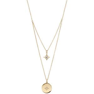 Collier en plaqué or double rang avec 1 étoile et 1 pastille avec etoile oxyde blanc 40+4cm - Vue 2