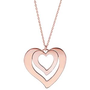Collier en plaqué or rose avec pendentif coeur à graver 1, 2, 3 ou 4 prénoms 40+5cm - Vue 2