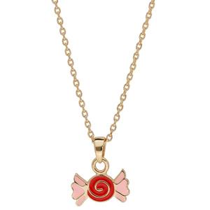 Collier en plaqué or avec pendentif bonbon rouge et rose 38cm - Vue 2