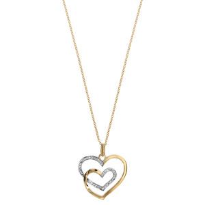 Collier en palqué or chaîne avec pendentif 2 coeurs faits avec 1 seul brin et ornés d\'oxydes blancs - longueur 42cm +3cm de rallonge - Vue 2