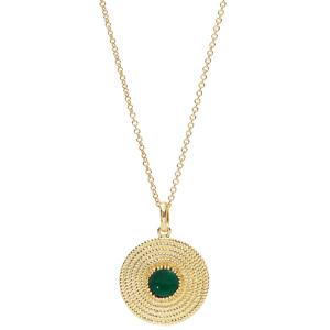 Collier en plaqué or avec Pendentif ethnique rond avec pierre verte 40+4cm - Vue 2