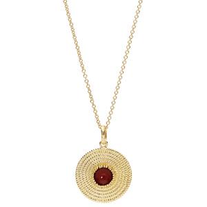 Collier en plaqué or avec Pendentif ethnique rond avec pierre rouge 40+4cm - Vue 2
