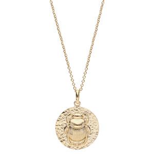 Collier en plaqué or avec Pendentif ethnique motif antique scarabée 40+4cm - Vue 2