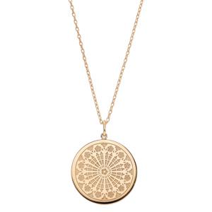Collier en plaqué or avec Pendentif rosace de strasbourg 40+5cm - Vue 2