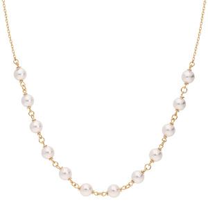 Collier en plaqué or avec perles blanches 42+7cm - Vue 2