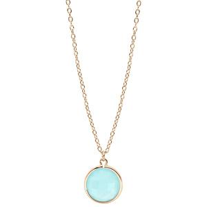 Collier en plaqué or chaîne avec pendentif pierre facettée ronde serti clos couleur bleue 40+4cm - Vue 2
