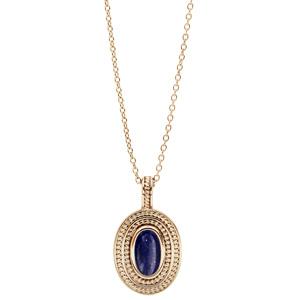 Collier en plaqué or chaîne avec pendentif ovale coeur Lapis Lazuli véritable 40+4cm - Vue 2