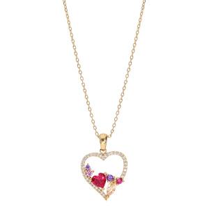 Collier en plaqué or chaîne avec pendentif coeur empierré multi couleur 40+5cm - Vue 2