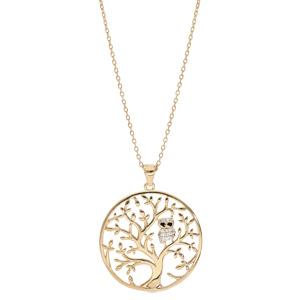 Collier en plaqué or chaîne avec pendentif arbre de vie et chouette empierrée 40+5cm - Vue 2