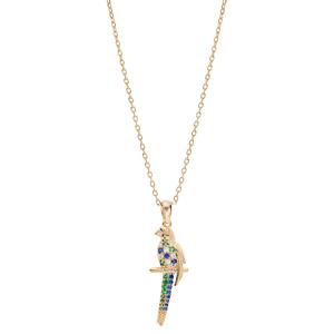 Collier en plaqué or chaîne avec pendentif perroquet empierré 40+5cm - Vue 2