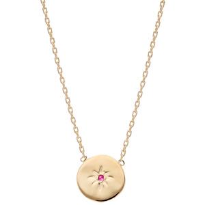 Collier en plaqué or chaîne avec médaille étoile avec oxyde rouge 42cm - Vue 2