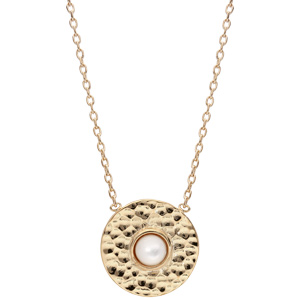 Collier en plaqué or chaîne avec médaillon rond martelé et coeur Nacre véritable 42cm - Vue 2