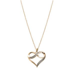Collier en plaqué or chaîne avec pendentif coeur drapé avec infini glitter blanc 42+3cm - Vue 2