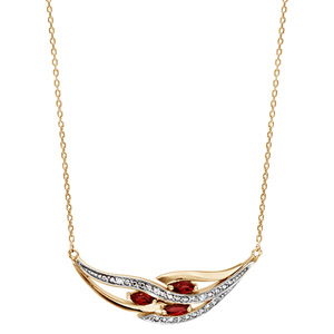 Collier en plaqué or chaîne avec pendentif grappe avec 3 navettes en oxydes rouges et rails d\'oxydes blancs sertis - longueur 42cm + 3cm de rallonge - Vue 2