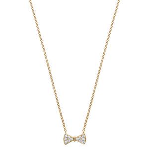 Collier en plaqué or chaîne avec pendentif noeud papillon orné d\'oxydes blancs sertis - longueur 40cm + 4cm de rallonge - Vue 2