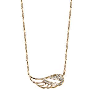 Collier en plaqué or chaîne avec pendentif aile d\'ange ajourée et ornée d\'oxydes blancs sertis - longueur 40cm + 4cm de rallonge - Vue 2