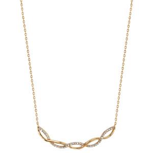 Collier en plaqué or chaîne avec pendentif 2 brins torsadés, 1 lisse et l\'autre orné d\'oxydes blancs sertis - longueur 40cm + 4cm de rallonge - Vue 2
